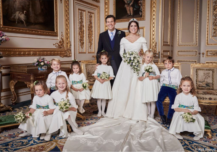 Jack Brooksbank and his beautiful bride, Princess Eugenie, surrounded by their flower girls and page boys. *Image Source: Alex Bramall / Instagram @hrhdukeofyork*