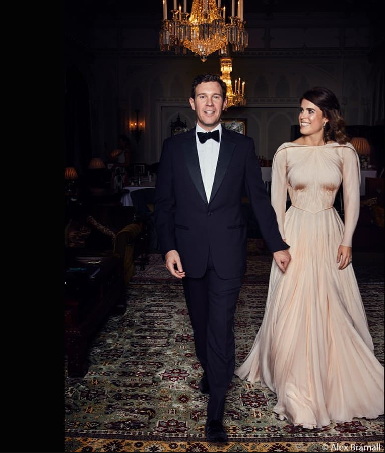 Princess Eugenie wears a gorgeous Zac Posen dress during her evening reception. Image by Alex Bramall