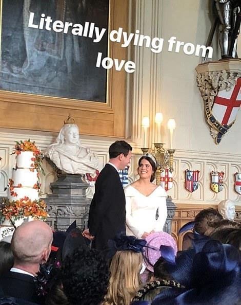 An Instagram story from one of the guests showed an intimate moment from inside the Grand Reception room.