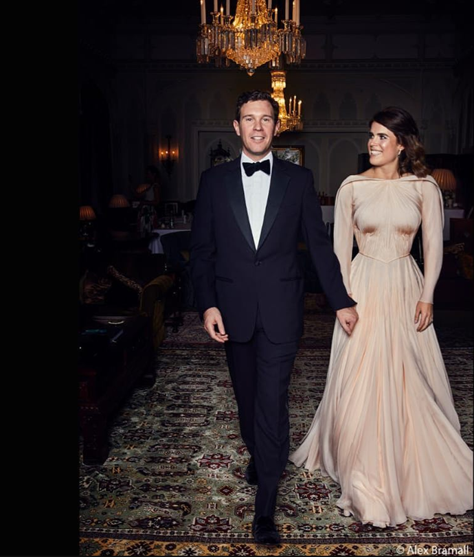 In an official portrait released by the Duke of York's Instagram account, Princess Eugenie and Jack look divine at their evening reception. *(Source: Instagram/hrhdukeofyork / Alex Bramell)*