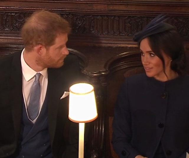 If looks could kill: The expression on Meghan's face when Harry interrupts her says it all.