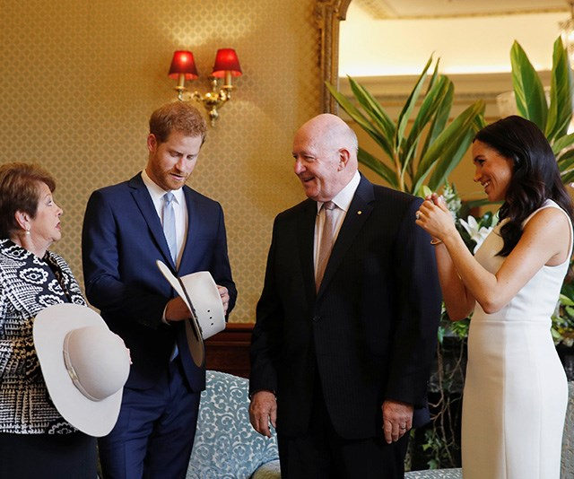 Harry and Meghan were given Australian-themed gifts from the Honourable Sir Peter Cosgrove and his wife, Lady Cosgrove. *(Image: Getty Images)*