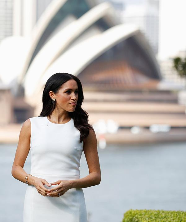 Meghan's Australian-designed frock is appropriately named the 'Blessed' dress. *(Image: Getty Images)*