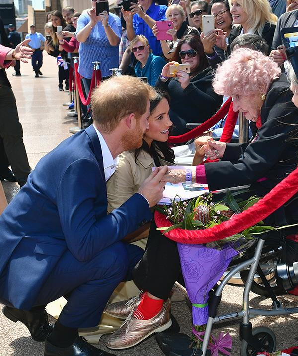 Meghan was thrilled to meet the 98-year-old. *(Image: Getty Images)*