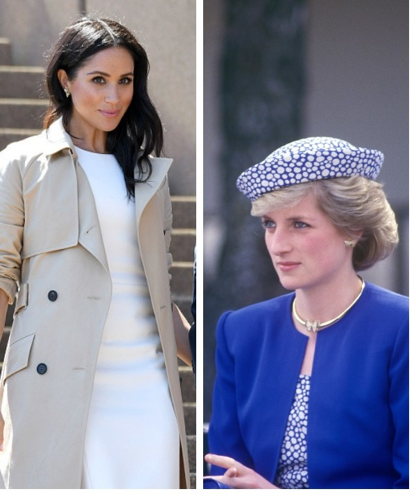 Can you spot the sweet message Meghan's sending out to her late mother-in-law? *(Images: Getty)*