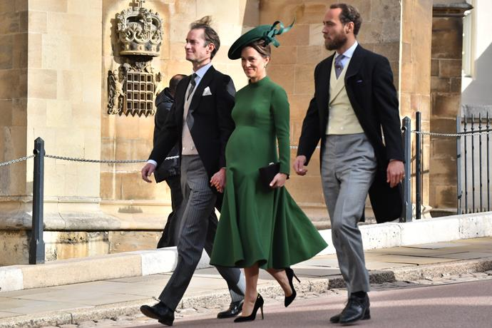 A heavily pregnant Pippa attended the wedding of Princess Eugenie and Jack Brooksbank on Friday. *(Image: Getty)*