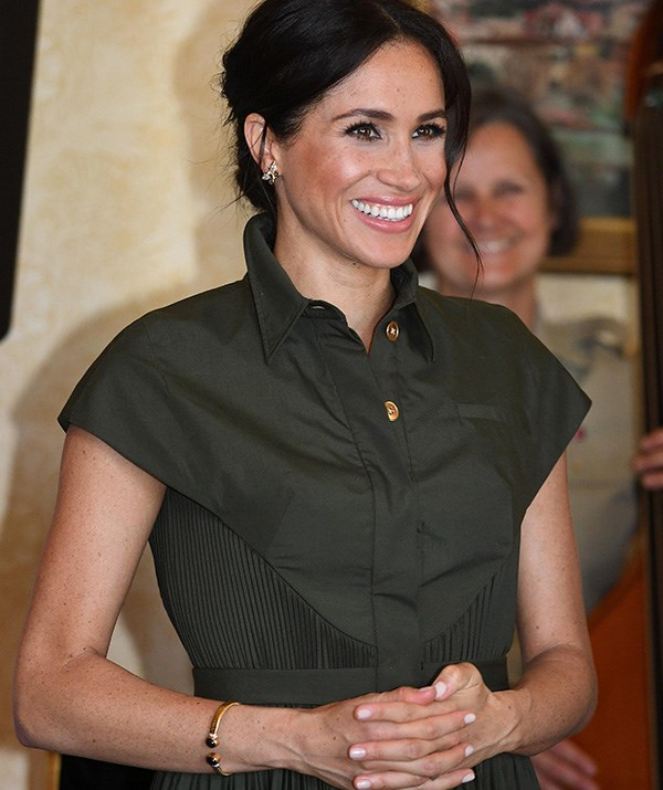 The Duchess was also wearing a delicate pair of butterfly earrings that belonged to Princess Diana - a sweet tribute to her late mother-in-law. *(Image: Getty Images)*