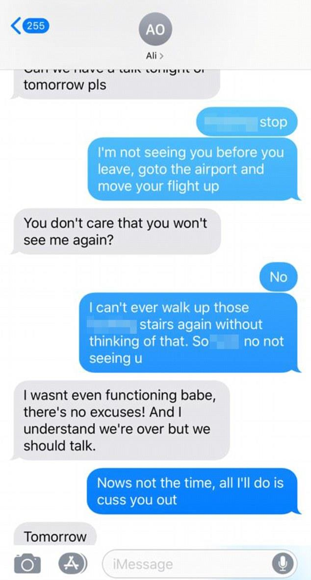 Text messages obtained by *The Daily Mail* of an exchange between Ali and her ex, Grant Kemp. *(Image: The Daily Mail)*