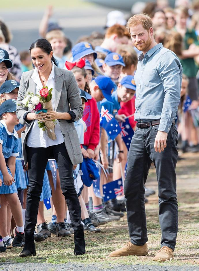 "Despite the packed schedule, the pregnant duchess is beaming in [Dubbo](https://www.nowtolove.com.au/royals/british-royal-family/prince-harry-meghan-markle-dubbo-51883|target=""_blank"") on Day 2 of the Royal Tour 2018. *(Image: Getty)*"