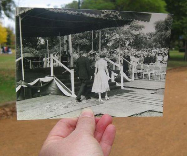 A photo of the Queen on her 1954 visit to Dubbo. *(Image: ABC)*
