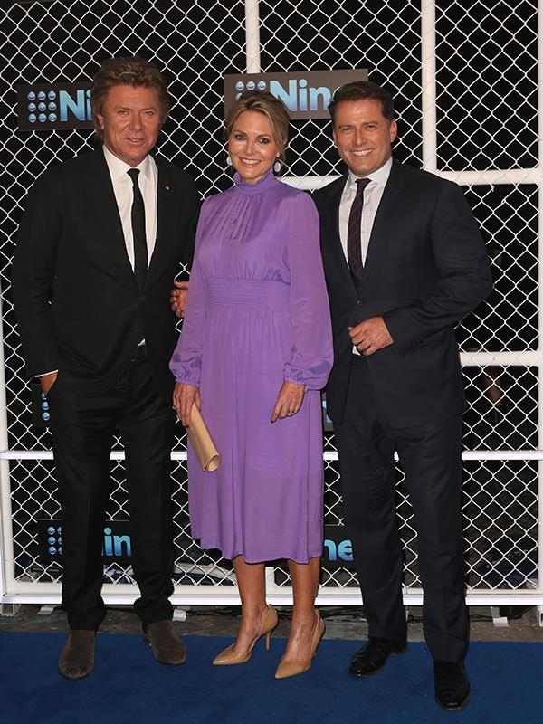 A body language expert says Karl and Georgie (pictured here with Richard Wilkins) looked noticeably tense at Nine's annual Upfronts event yesterday. *(Image: Media Mode)*