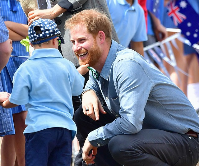 Hair-raising stuff: Luke won over the prince after scratching his beard. *(Image: Getty Images)*