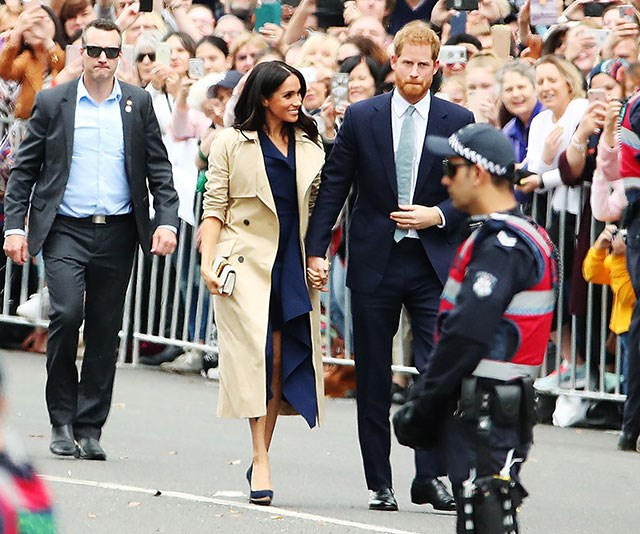 Walking hand-in-hand, Meghan and Harry receive a warm welcome from Melbourne.