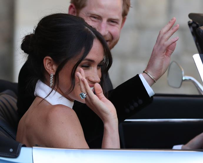 The royal newlyweds were pictured wearing jewellery paying tribute to the late Princess Diana following their wedding ceremony. *(Image: Getty Images)*
