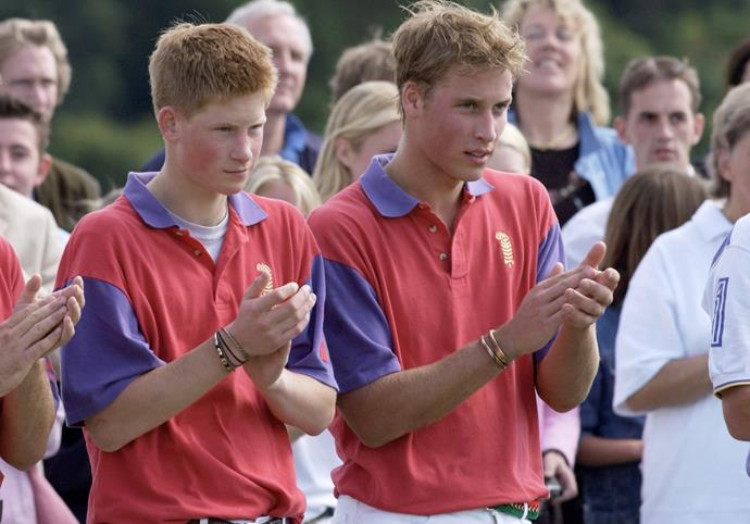 Prince Harry and William have both worn similar bracelets believed to have come from their trip to Africa in 1997. *(Image: Getty Images)*