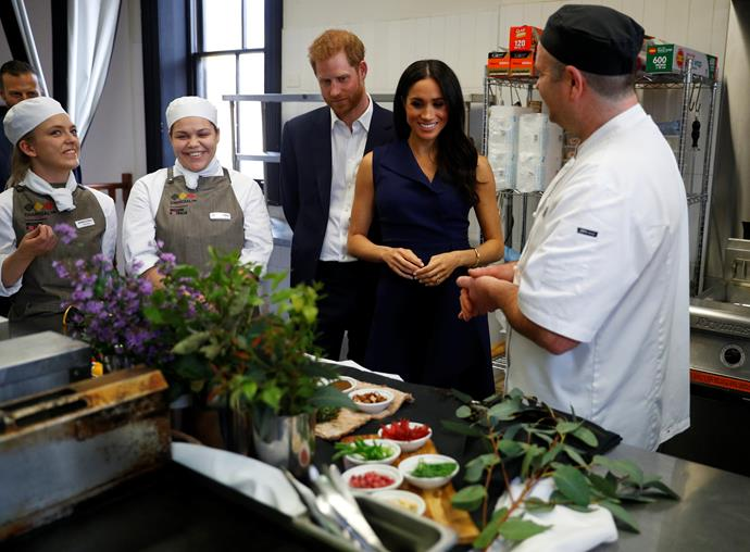 Duchess Meghan and Prince Harry visited a Melbourne cafe on day three of their Australian tour. *(Image: Getty Images)*