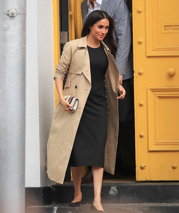 Time for an outfit change! The Duchess stepped out in a Club Monaco black dress ahead of her visit to South Melbourne beach on Thursday afternoon. *(Image: Media Mode)*