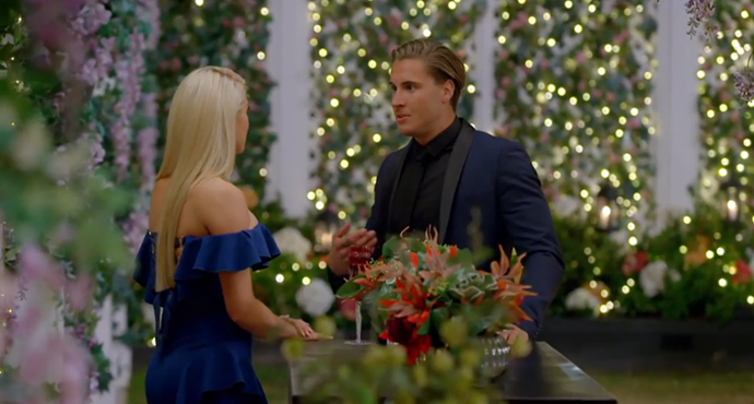 Ali and Nathan on the set of *The Bachelorette*. *(Source: Network Ten)*