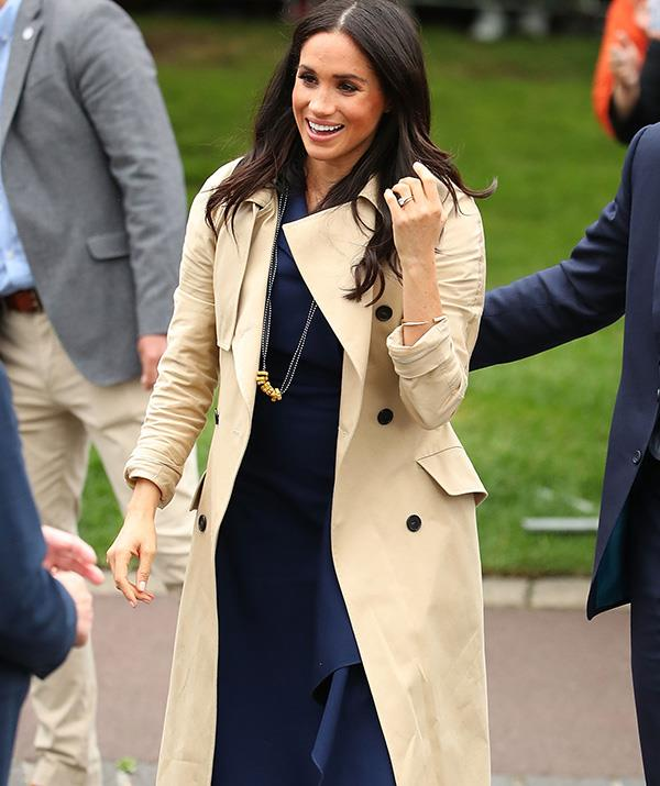 Meghan wore the necklace for the remainder of the public walkabout in Melbourne. *(Image: Getty Images)*
