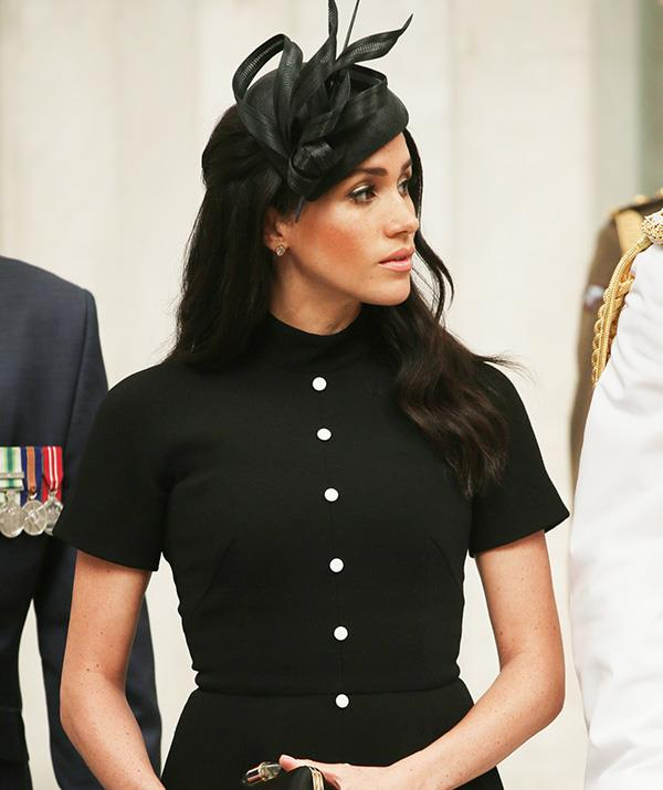 "The New Zealand designed Emilia Wickstead dress is called the ""Camila"". The classy royal paired it with a  Philip Treacy hat and black heels. *(Image: Getty Images)*"