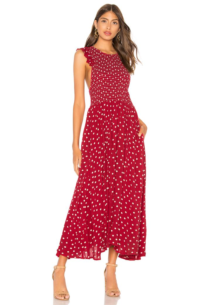 "Free People chambray butterflies midi dress, $151.92, available from [Revolve](https://www.revolveclothing.com.au/r/DisplayProduct.jsp?aliasURL=free-people-chambray-butterflies-midi-dress-in-red%2Fdp%2FFREE-WD1441&d=F&countrycode=AU&gclid=CjwKCAjwx7DeBRBJEiwA9MeX_O5ODhRZPCr7Ly07GQl1mSkoSaehG38IPo5_Zb5Biq7A_ixxyAzuKxoCoEIQAvD_BwE&product=FREE-WD1441&product=FREE-WD1441|target=""_blank""