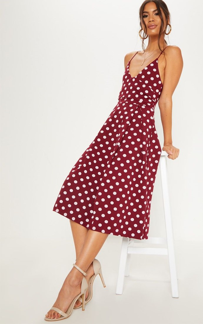"Burgundy Polka Dot Strappy Plunge Skater Midi Dress, $58, available from [Pretty Little Thing](https://www.prettylittlething.com.au/burgundy-polka-dot-strappy-plunge-skater-midi-dress.html|target=""_blank""