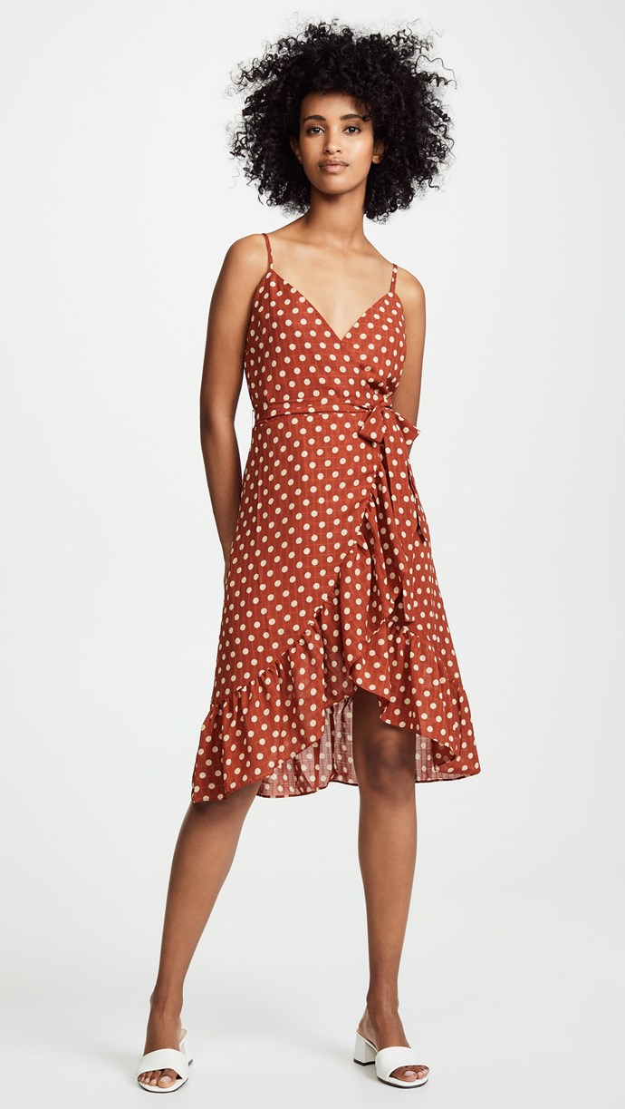 "J.O.A. polkadot dress, $62.30, available from [Shopbop](https://www.shopbop.com/polka-dot-dress-joa/vp/v=1/1557306305.htm?gclid=CjwKCAjwx7DeBRBJEiwA9MeX_J64WL3HNU_fAHgsUuTMqmYREuUIbyE0dpcHEdFR6IB4DjiXVinBQRoCSGQQAvD_BwE&currencyCode=USD&extid=SE_froogle_SC_au&cvosrc=cse.google.JOOOA30538&cvo_campaign=SB_Google_AUD&ef_id=W7q1AwAABdGvfjzJ%3A20181022034511%3As target=""_blank"" rel=""nofollow"")."