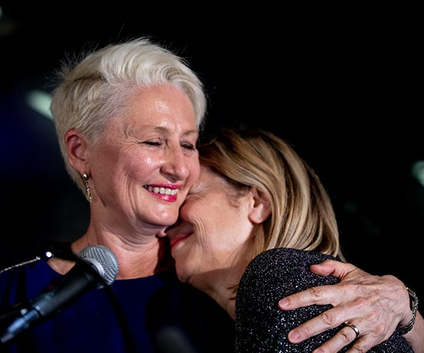 Kerryn and Jackie share a tender moment after the victory was announced *(Image: Getty Images)*