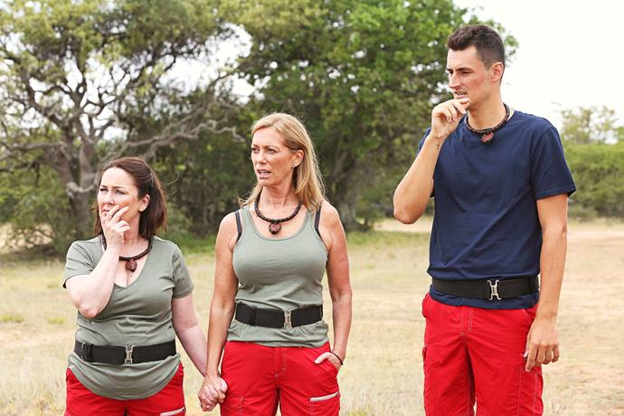 Kerry Armstrong with Fiona O'Loughlin and Bernard Tomic on *I'm A Celeb.*