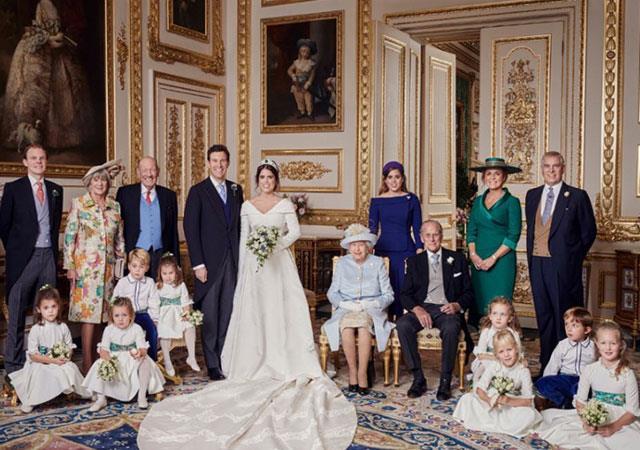 Fergie stood directly behind Prince Philip in the official wedding portrait. *(Image: Alex Bramall/Instagram @hrhdukeofyork)*