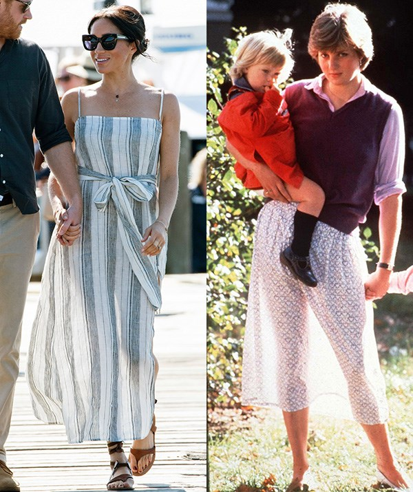 During her and husband Prince Harry's current royal tour of Australia, New Zealand, Fiji and Tonga, the Duchess of Sussex stepped out in Queensland's Fraser Island in this Reformation striped flowing dress, featuring sheer fabric.  <br><br> Fans were quick to compare the style to one that Princess Diana wore before her 1981 wedding to Prince Charles. The 19-year-old Princess to-be, who was working in childcare at the time, made global news when she was snapped in a Laura Ashley skirt which became transparent in the sun. *(Images: Getty & Rex Images)*