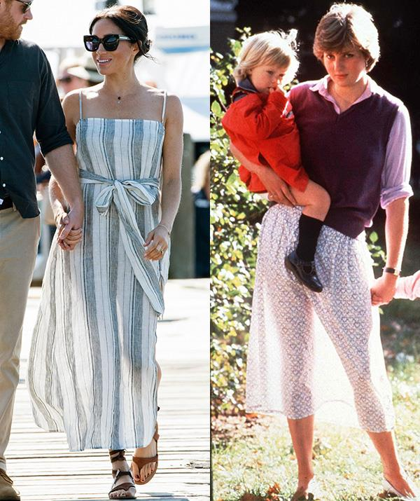 During her and husband Prince Harry's royal tour of Australia, New Zealand, Fiji and Tonga, the Duchess of Sussex stepped out in Queensland's Fraser Island in this Reformation striped flowing dress, featuring sheer fabric.  <br><br> Fans were quick to compare the style to one that Princess Diana wore before her 1981 wedding to Prince Charles. The 19-year-old Princess to-be, who was working in childcare at the time, made global news when she was snapped in a Laura Ashley skirt which became transparent in the sun.