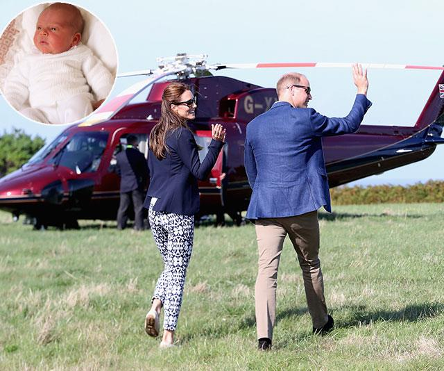 William, Catherine and Louis reportedly flew via royal chopper from Norfolk to their Kensington Palace headquarters in London. (*Images: Getty)*