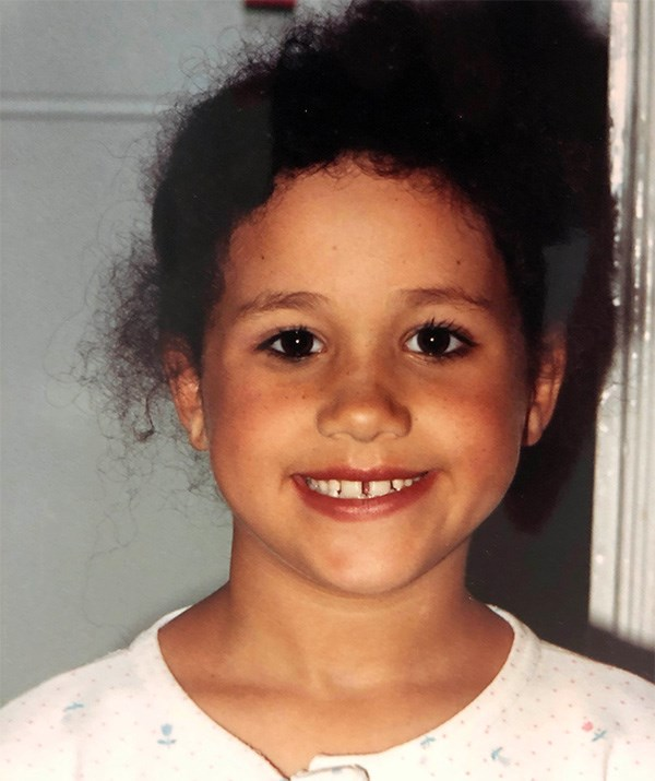 Before she was a royal, Meghan was a royally cute kid. Check out those bambi eyes! *(Image: Mega)*