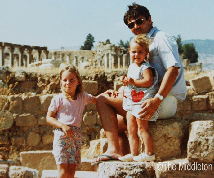 In the 1980s, Kate and Pippa were angelic children. Here they are pictured with doting dad Michael Middleton when the family lived in Jordan for a brief period. *(Image: The Middleton Family)*