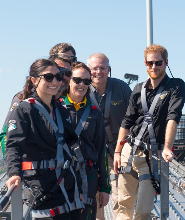 Prime Minister Scott Morrison joined the prince as they climbed Sydney's Harbour Bridge. *(Image: Getty Images)*
