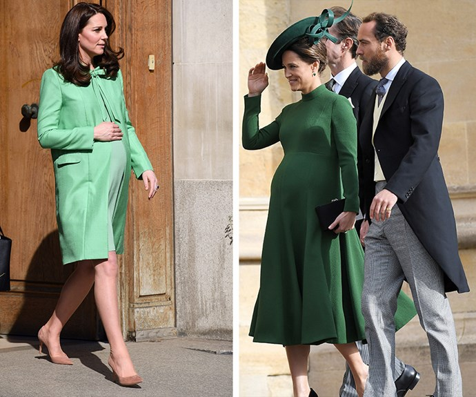 Visions in green! Pippa may have looked to her sister for maternity style inspiration. *(Images: Getty Images)*