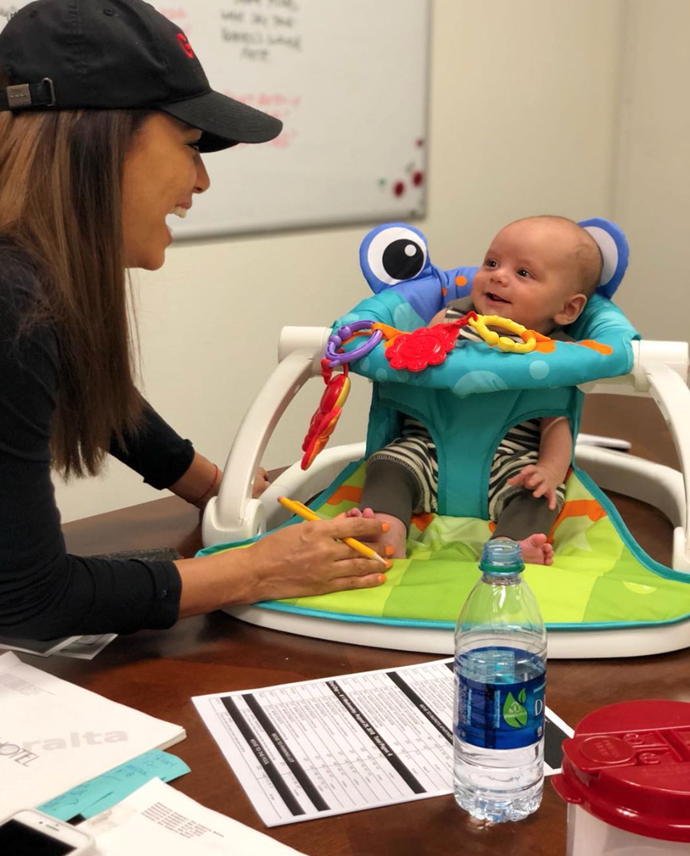 Returning was not so hard for Eva when she could bring baby Santiago along with her. The star captioned this shot: 'First day back to work and look who is my assistant director! Has a desk and everything!'.