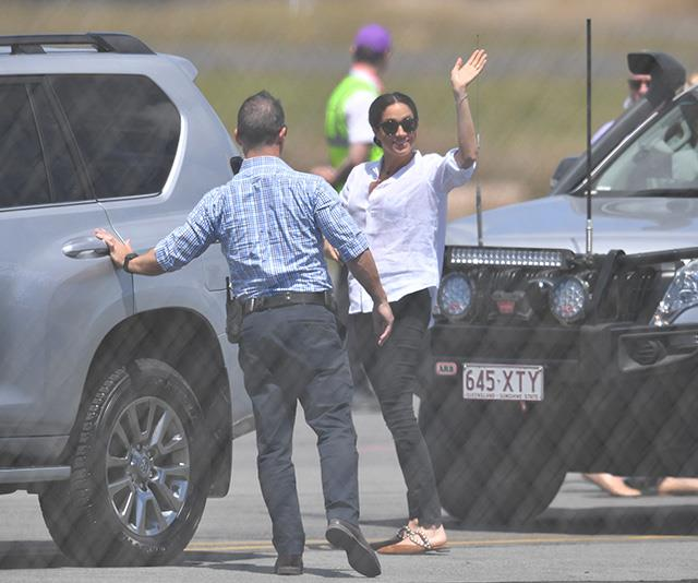Meghan and Harry's outfits looked casual and comfortable for the flight ahead. *(Image: AAP)*