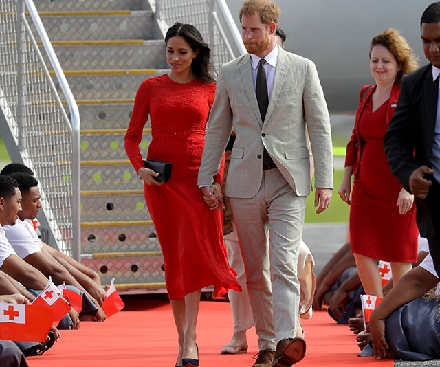 The Duchesses dress colour was a fitting tribute to Tonga and its bold red flag! *(Image: AAP)*