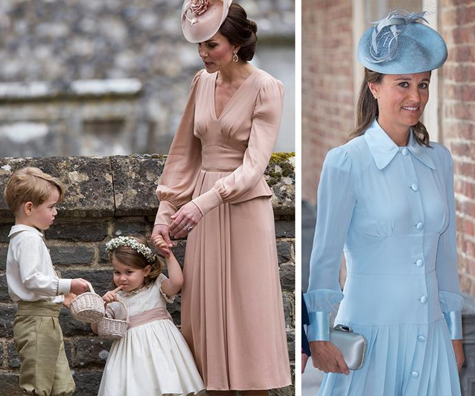 The two sisters have similar style: Pippa's blue frock that she wore to Prince Louis' christening was very reminiscent of the pink one Duchess Catherine wore on Pippa's big day. *(Images: Getty Images)*