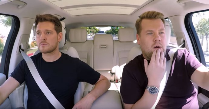 Michael Bublé with James Corden during *Carpool Karaoke*. *(Source: CBS)*