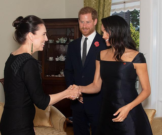 Inspiring females unite! Meghan met New Zealand Prime Minister, Jacinda Adern, during the event. Adern is the second elected world leader to give birth while in office. *(Image: Getty Images)*