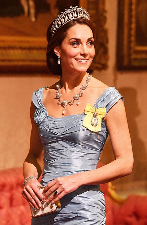 All the glitters! Catherine stunned in Princess Diana's tiara and an ice-blue gown by Alexander McQueen. *(Image: AAP)*