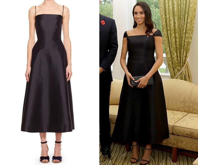 Markle opted for a capped sleeve as opposed to spaghetti straps. *(Images: L-R Gabriela Hears, Getty)*