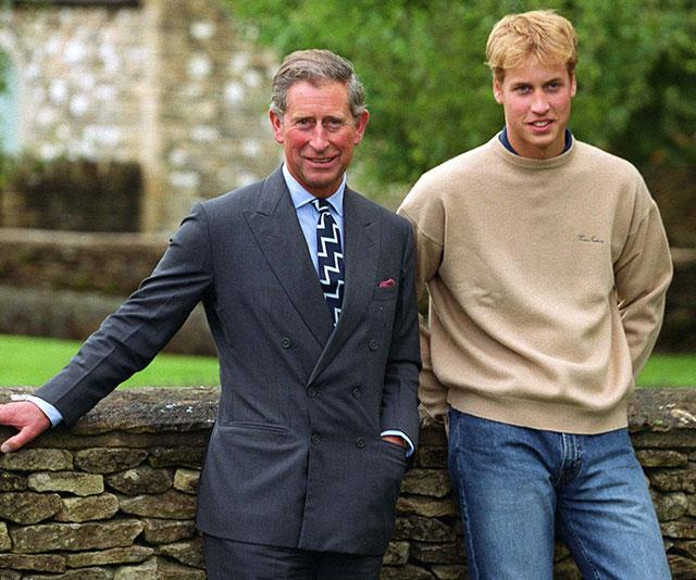 **The next chapter:** Prince Charles and Prince William at their home in Tetbury, South West England before William in 2000 as William took a year off before starting his art history degree at St. Andrews University in Scotland. *(Image: Getty)*