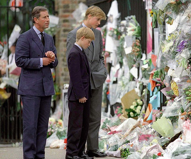 """**A mother's passing:** In 1997, Charles, William and Harry's worlds would change forever after [Princess Diana was killed in a car crash in Paris.](https://www.nowtolove.com.au/royals/british-royal-family/the-night-princess-diana-died-in-paris-40484