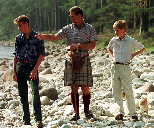 """**A hands-on parent:** """"I've always mucked around with them a great deal! When William was tiny, I used to muck around with him as much as I possibly could,"""" Charles revealed of his love of playing with his sons. *(Image: Getty)*"""