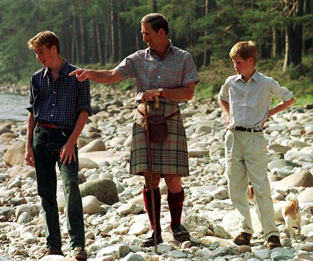 "**A hands-on parent:** ""I've always mucked around with them a great deal! When William was tiny, I used to muck around with him as much as I possibly could,"" Charles revealed of his love of playing with his sons. *(Image: Getty)*"