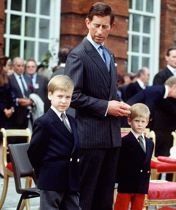 """**Raising future leaders:** In the 90s, shortly after splitting from Princess Diana, Prince Charles gave a rare interview on fatherhood admitting it was """"marvellous to see them [William and Harry] develop and get good at certain things and develop interests, it gives me enormous pleasure, satisfaction and pride!"""" *(Image: Getty)*"""